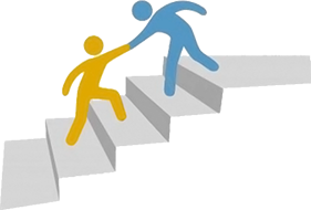 One figure helping another up stairs
