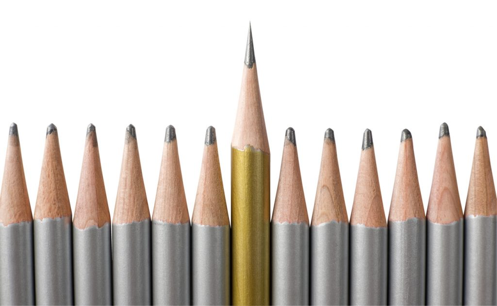 Very sharp pencil standing out from others that are blunt. Ideal for 'leadership', 'performance' or 'better than the rest' concepts. Isolated on white and clipping path included.